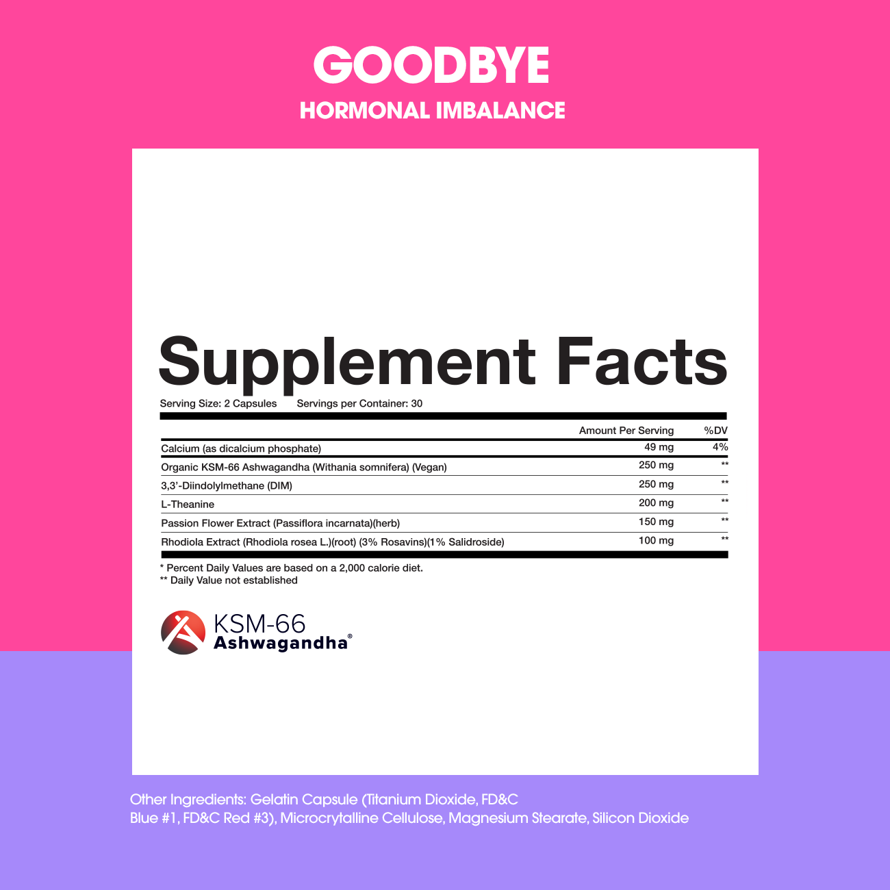 GOODBYE Ingredients & Supplement Facts Panel