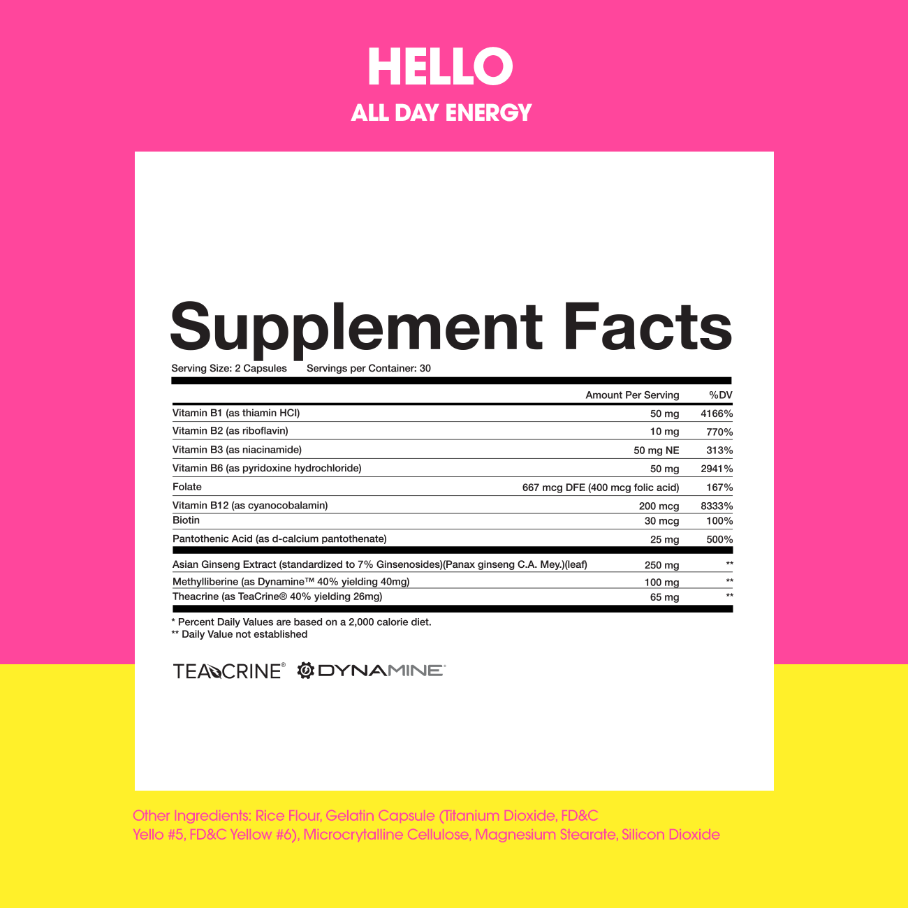 HELLO Ingredients & Supplement Facts Panel