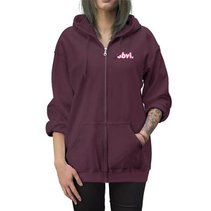 Obvi Embroidered Zip Up Hoodie