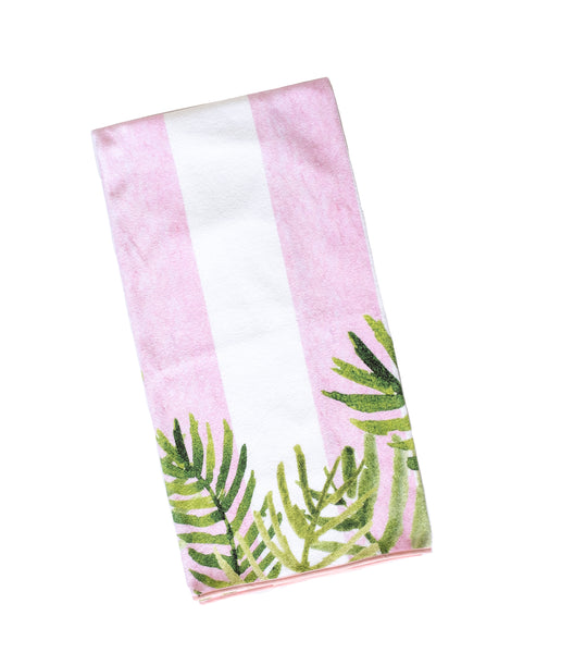 Pink Stripes & Palms Beach Towel