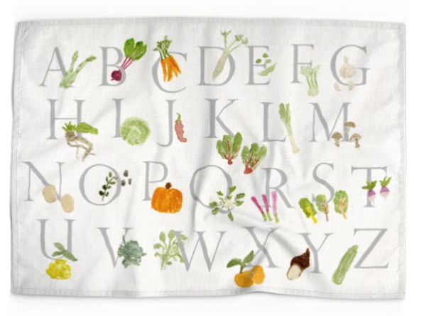 Vegetable Alphabet Linen Dish Towel