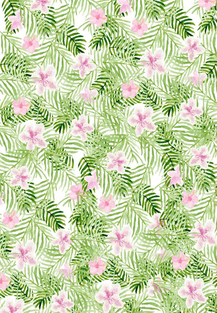 Palm and azalea print gift wrap (set of 10)