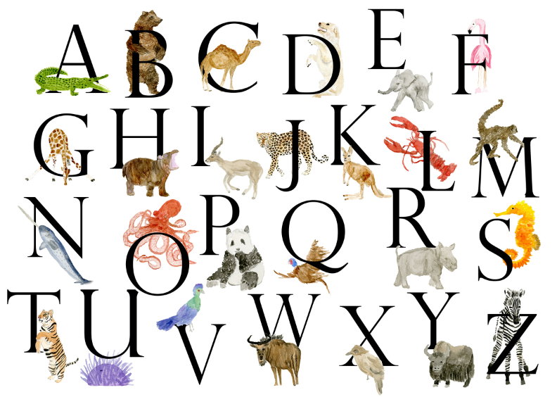 Custom Nursery Animal Letter Print