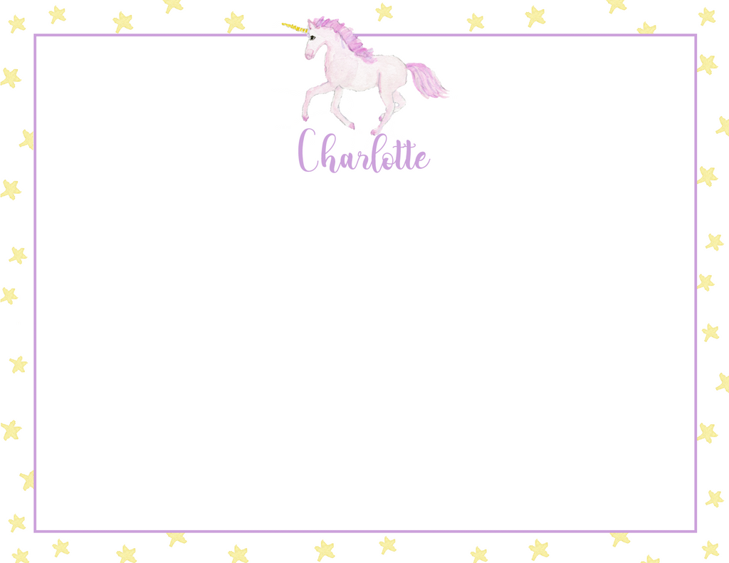 Custom Unicorn Monogram Stationery (set of 25)