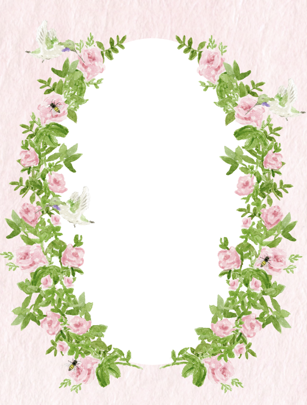 Floral stationery border