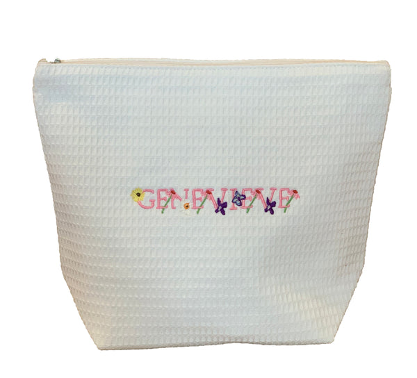 Custom Floral Alphabet Cosmetic Bag