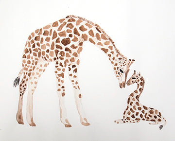 Original Giraffe Mama and Baby Painting
