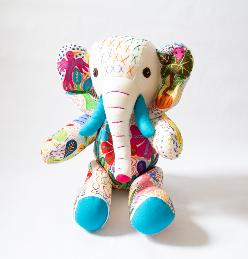 Large Hand Stitched Stuffed Elephant
