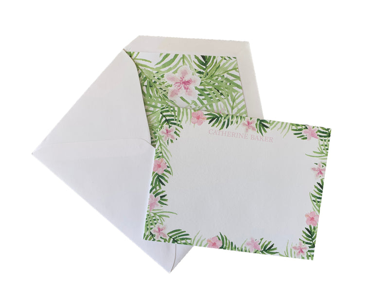 Palm and azalea print stationery set of 25