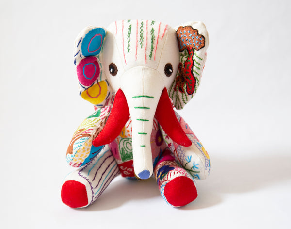Small Hand Stitched Stuffed Elephant