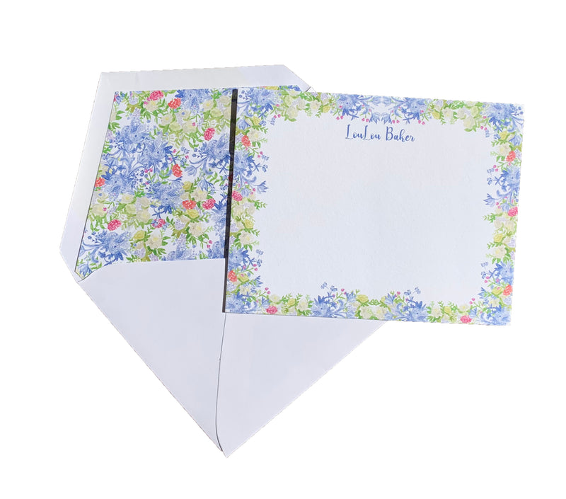 Blue floral chintz double thick stationery (set of 25)