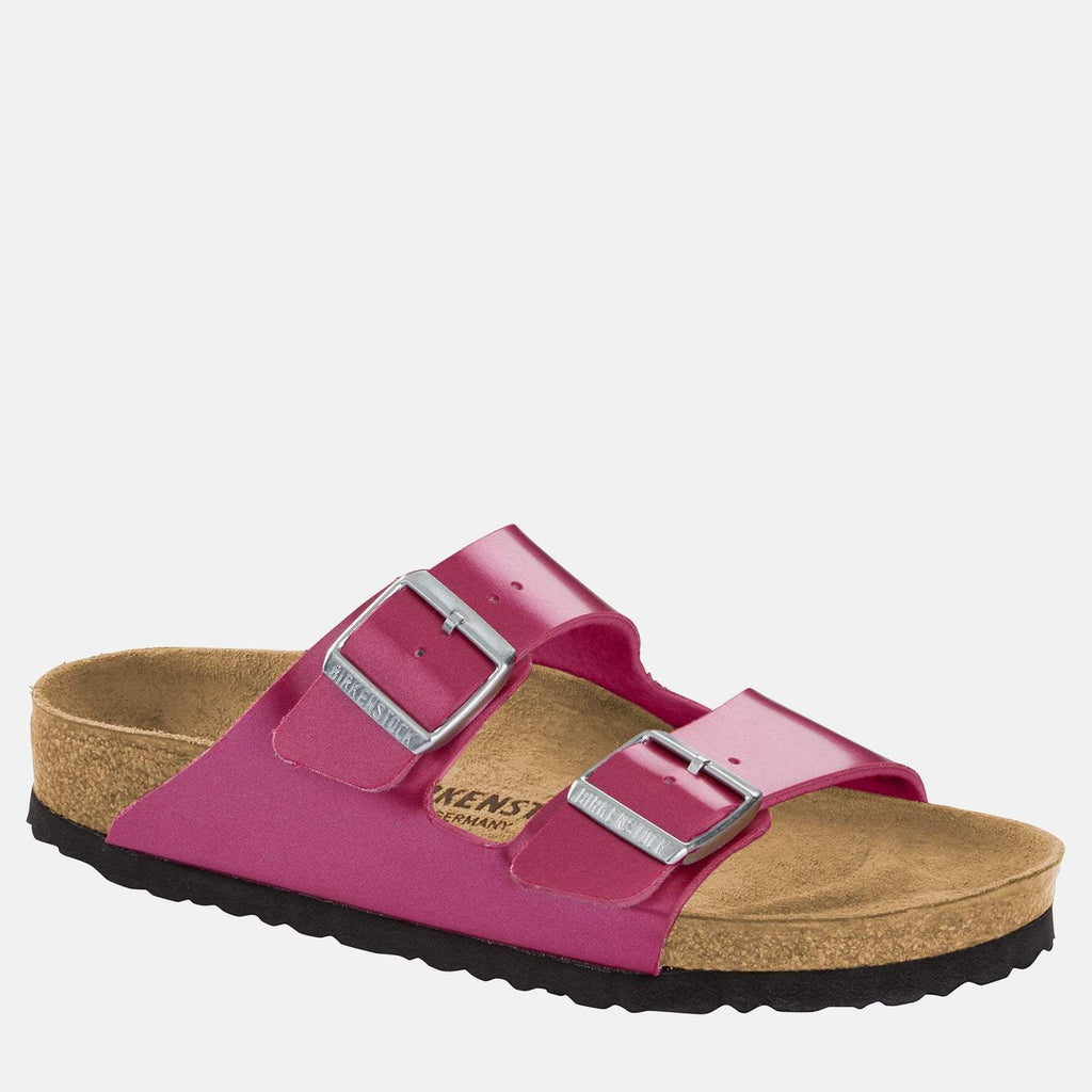 Birkenstock Footwear UK 3.5 / EU 36/ US 5-5.5 / Purple Arizona Narrow Fit Electric Metallic Magenta 1012968 - Birkenstock Ladies Metallic Purple Flat Summer Sandals
