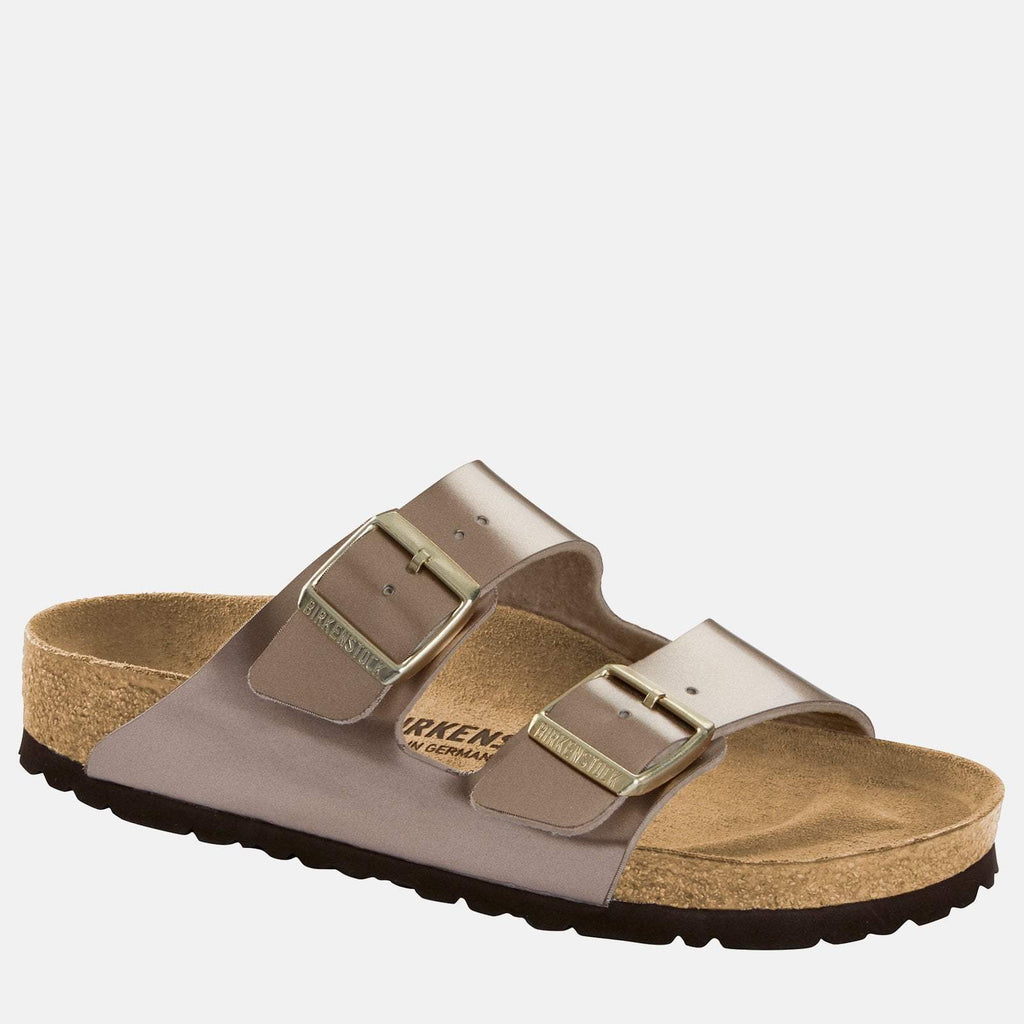 Birkenstock Footwear UK 3.5 / EU 36/ US 5-5.5 / Taupe Arizona Narrow Fit Electric Metallic Taupe 1012971 - Birkenstock Ladies Metallic Taupe Flat Summer Sandals
