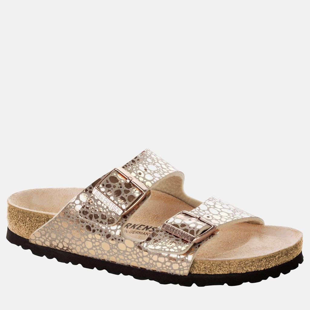 Birkenstock Footwear UK 3.5 / EU 36/ US 5-5.5 / Copper Arizona Narrow Fit Metallic Stones Copper  1006685 - Birkenstock Ladies Metallic Copper Flat Summer Sandals