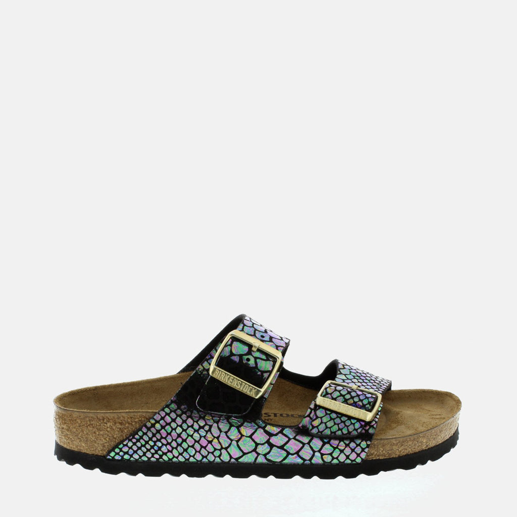 Birkenstock Footwear UK 3.5 / EU 36/ US 5-5.5 / Black Arizona  Narrow Fit Shiny Snake Black Multi 1003463 - Birkenstock Ladies Metallic Shiny Snake Flat Summer Sandals