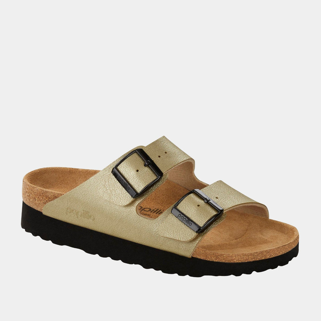 Birkenstock Footwear Arizona Platform BF Metallic Platin 1017703 narrow fit