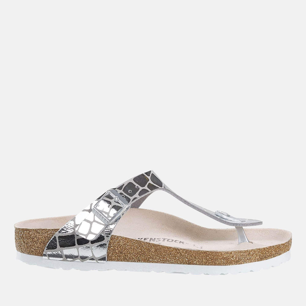 Birkenstock Footwear Gizeh Regular Fit Gator Gleam Silver 1016240