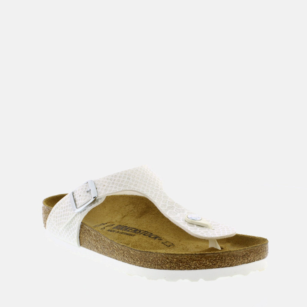Birkenstock Footwear UK 3.5 / EU 36/ US 5-5.5 / White Gizeh Regular Fit Magic Snake White 1009115 -  Birkenstock Ladies White Magic Snake Toe Post Summer Sandals