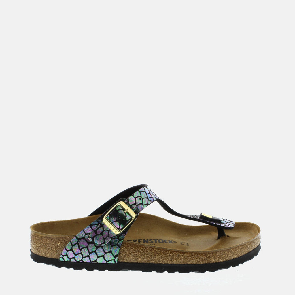 Birkenstock Footwear UK 3.5 / EU 36/ US 5-5.5 / Black Gizeh Regular Fit Shiny Snake Black Multi 1003464 - Birkenstock Ladies Black Toe Post Summer Sandals