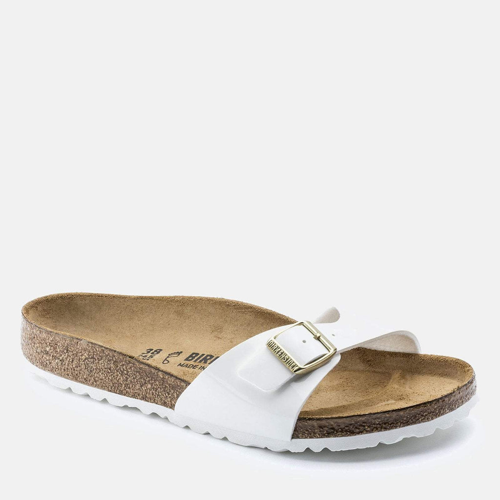 Birkenstock Footwear UK 3.5 / EU 36/ US 5-5.5 / White Madrid  Regular Fit Patent White 1005309 -  Birkenstock Ladies White Slip-On Summer Sandals