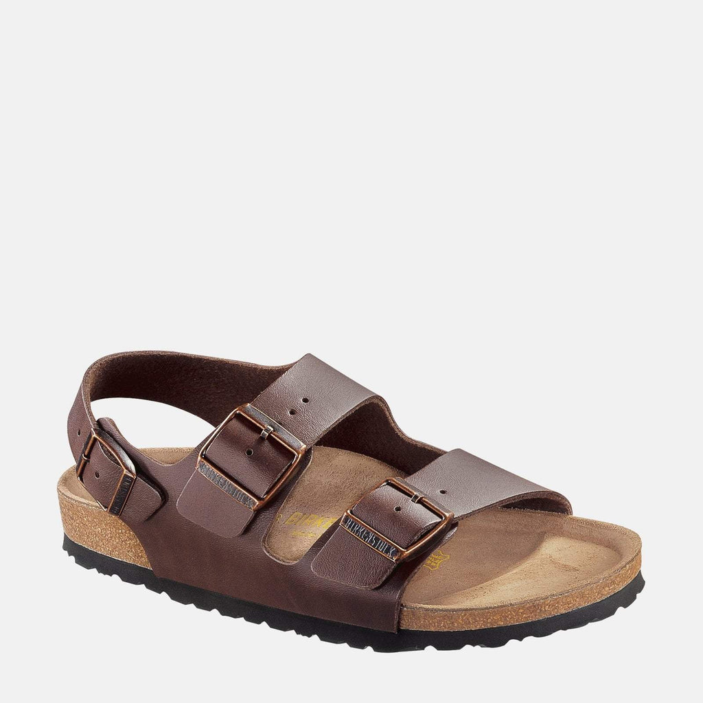 Birkenstock Footwear UK 7.5 / EU 41/ US 8-8.5 / Brown Milano Regular Fit Dark Brown 034701 - Birkenstock Men's Milano Dark Brown Adjustable Buckle Summer Sandals