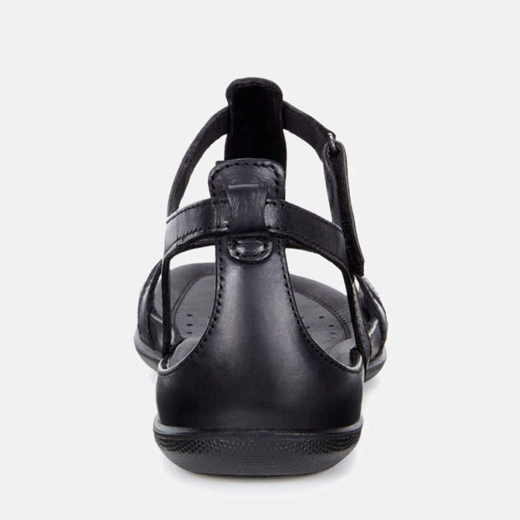 Ecco Footwear UK 3.5 / EU 36 / US 5-5.5 / Black Flash 240873 53859 Black/Black - Ecco Ladies Soft Leather Black Gladiator Style Summer Sandals