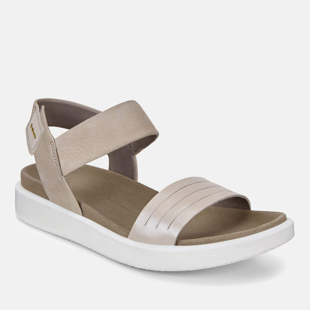 Ecco Footwear UK 3.5 / EU 36 / US 5-5.5 / Silver Flowt 273603 51386 Moon Rock Silver Warm Grey Metallic - Ecco Ladies Silver Soft Leather Sandals with Velcro Fastening