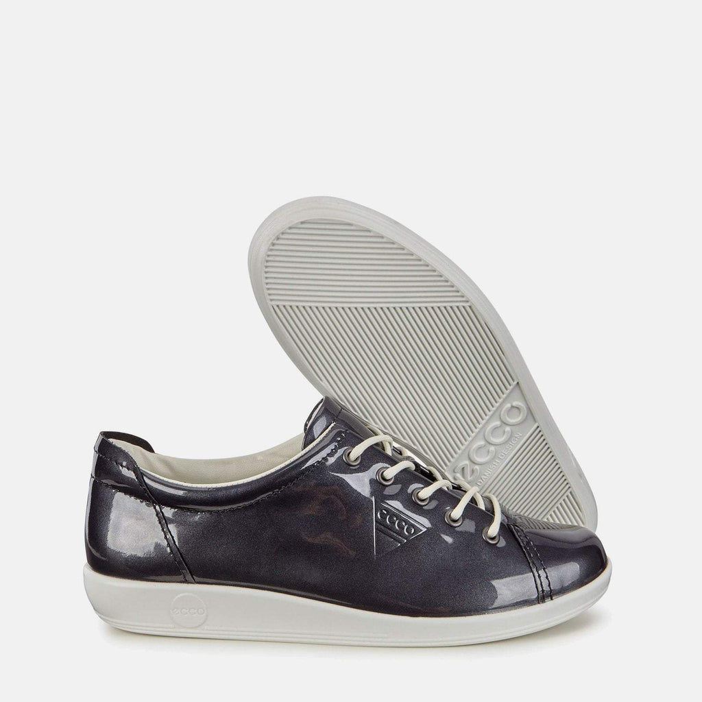 Ecco Footwear UK 3.5 / EU 36 / US 5-5.5 / Black Soft 2.0 206503 01303 Night Sky Patent - Ecco Navy Blue Soft Patent Leather Ladies Trainers