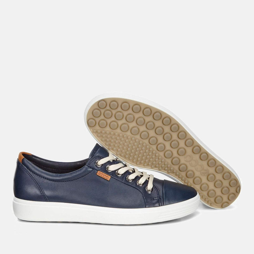 Ecco Footwear UK 4-4.5 / EU 37 / US 6-6.5 / Navy Soft 7 W 430003 01038 Marine - Ecco Navy Blue Soft Leather Ladies Trainers