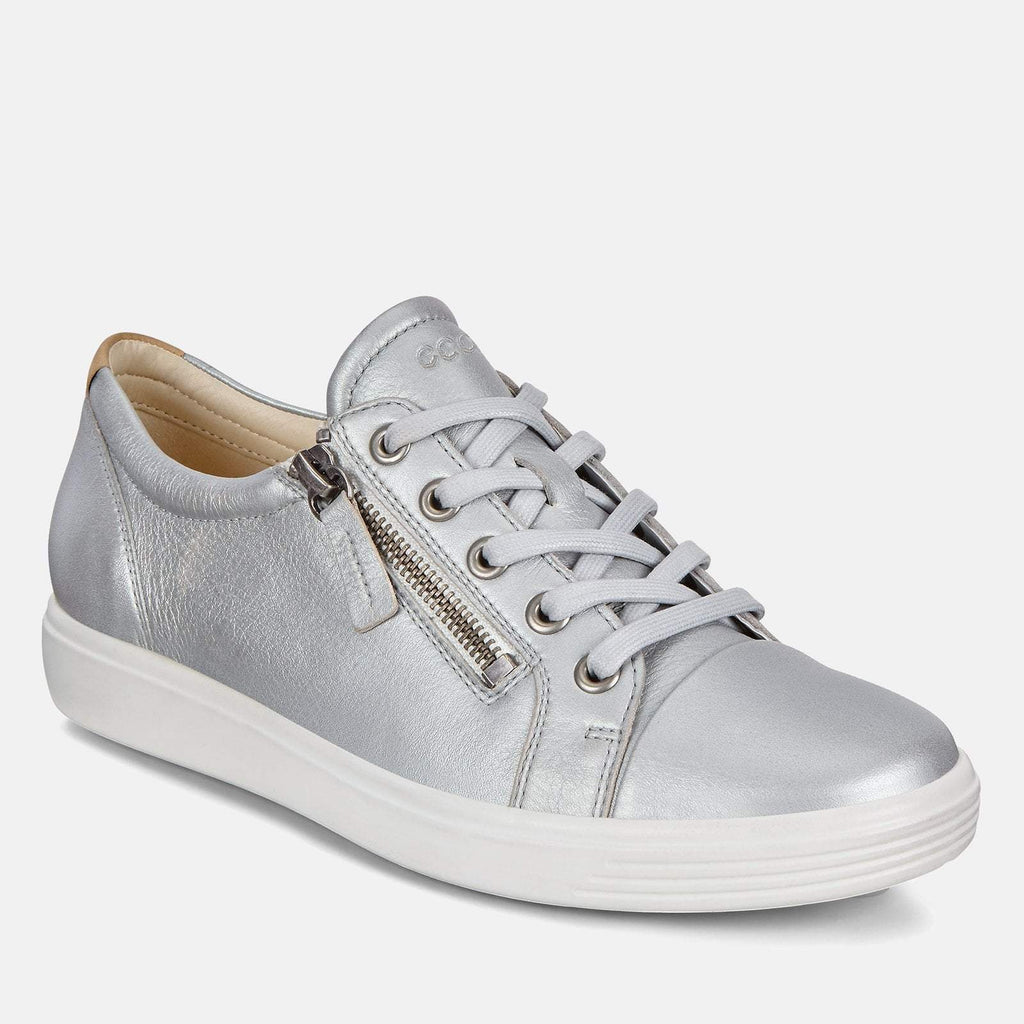 Ecco Footwear UK 3.5 / EU 36 / US 5-5.5 / Grey Soft 7 W 430853 51382 Concrete Metallic - Ecco Metallic Grey Soft Leather Ladies Trainers