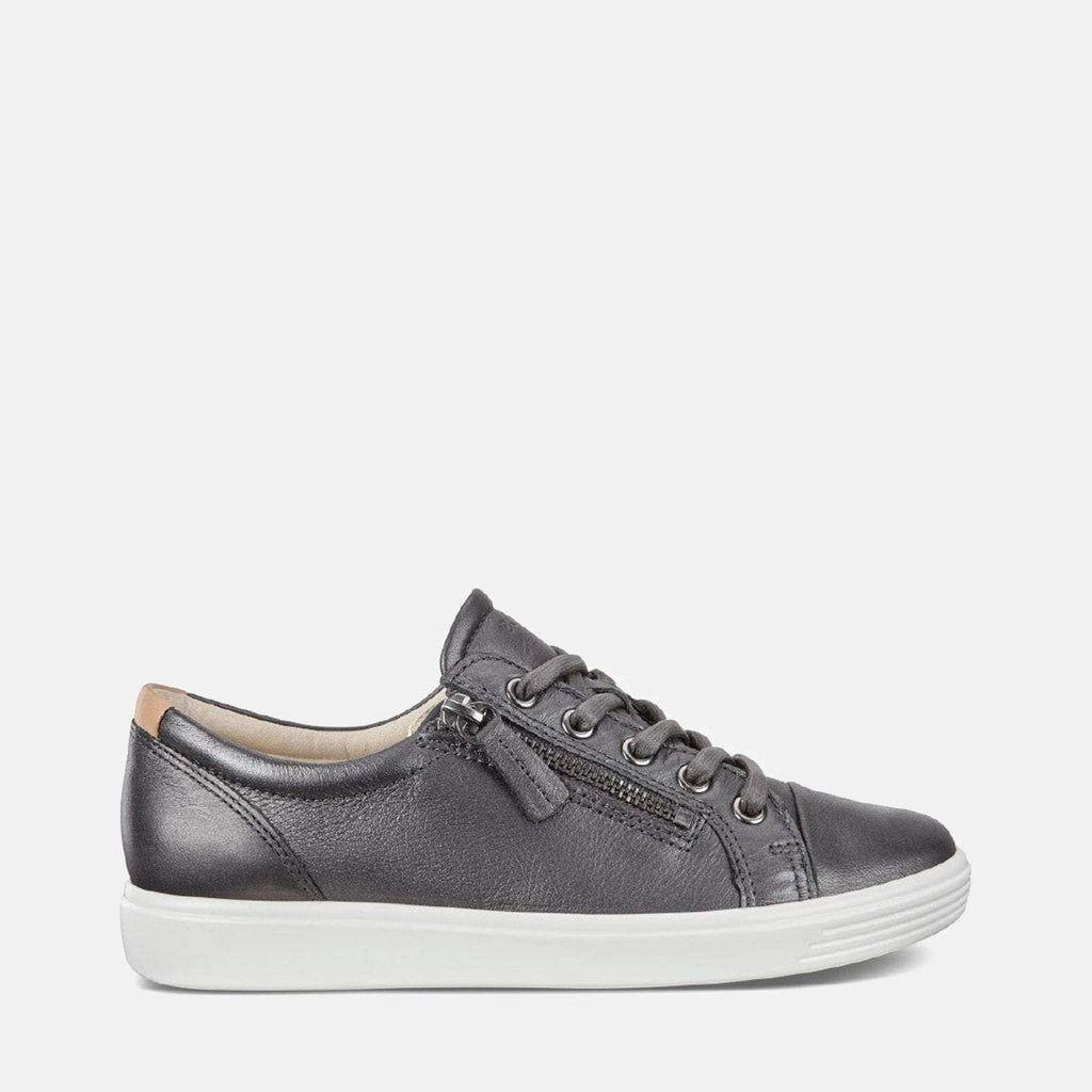 Ecco Footwear UK 4-4.5 / EU 37 / US 6-6.5 / Grey Soft 7 W 430853 51383 Black Dark Shadow Metallic - Ecco Metallic Dark Grey Soft Leather Ladies Trainers