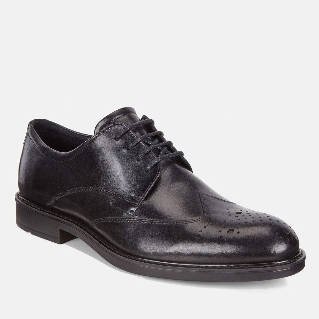 Ecco Footwear UK 6.5-7 / EU 40 / US 6-6.5 / Black Vitrus III 640524 01001 Black - Ecco Men's Brogue/Derby Formal Lace Up Black Leather Shoes