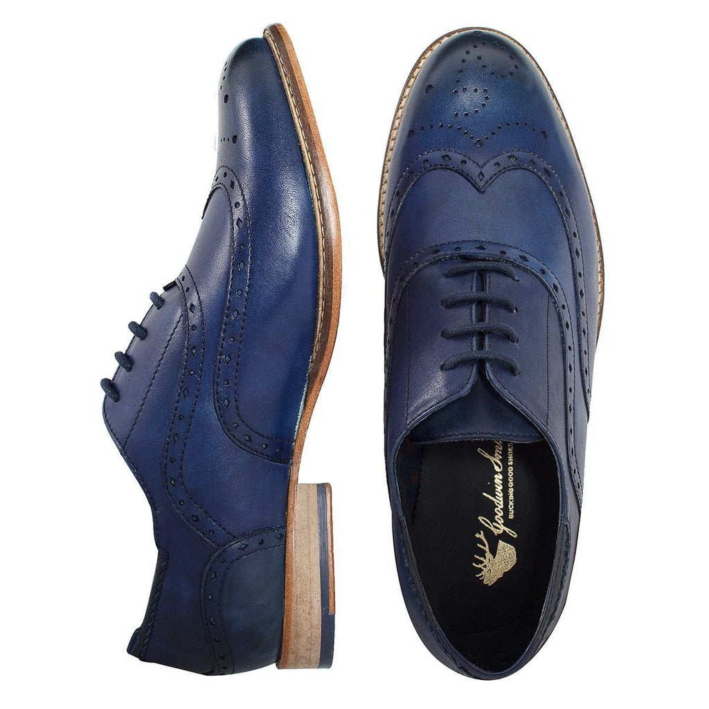 Image of the men's Brisbane Blue showing the overhead view of the top and side of the shoes