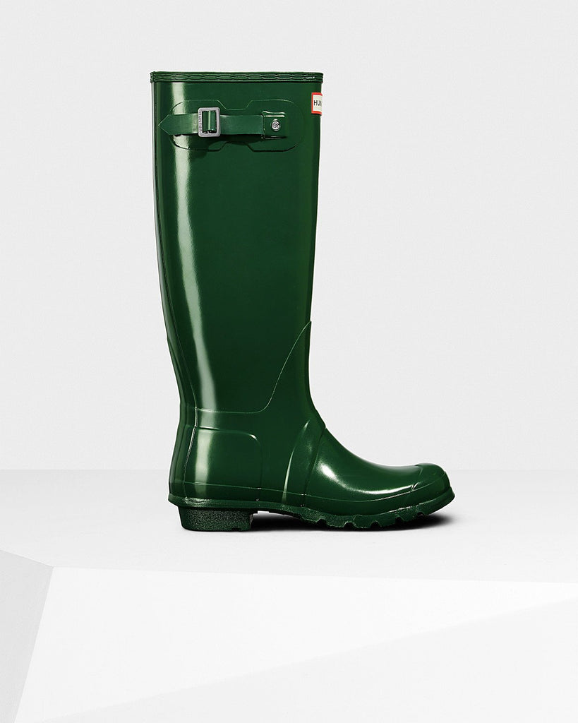 Hunter Footwear UK 4 / EU 37 / US 6 / Hunter Green Women's Original Tall Gloss Wellington Boots Hunter Green
