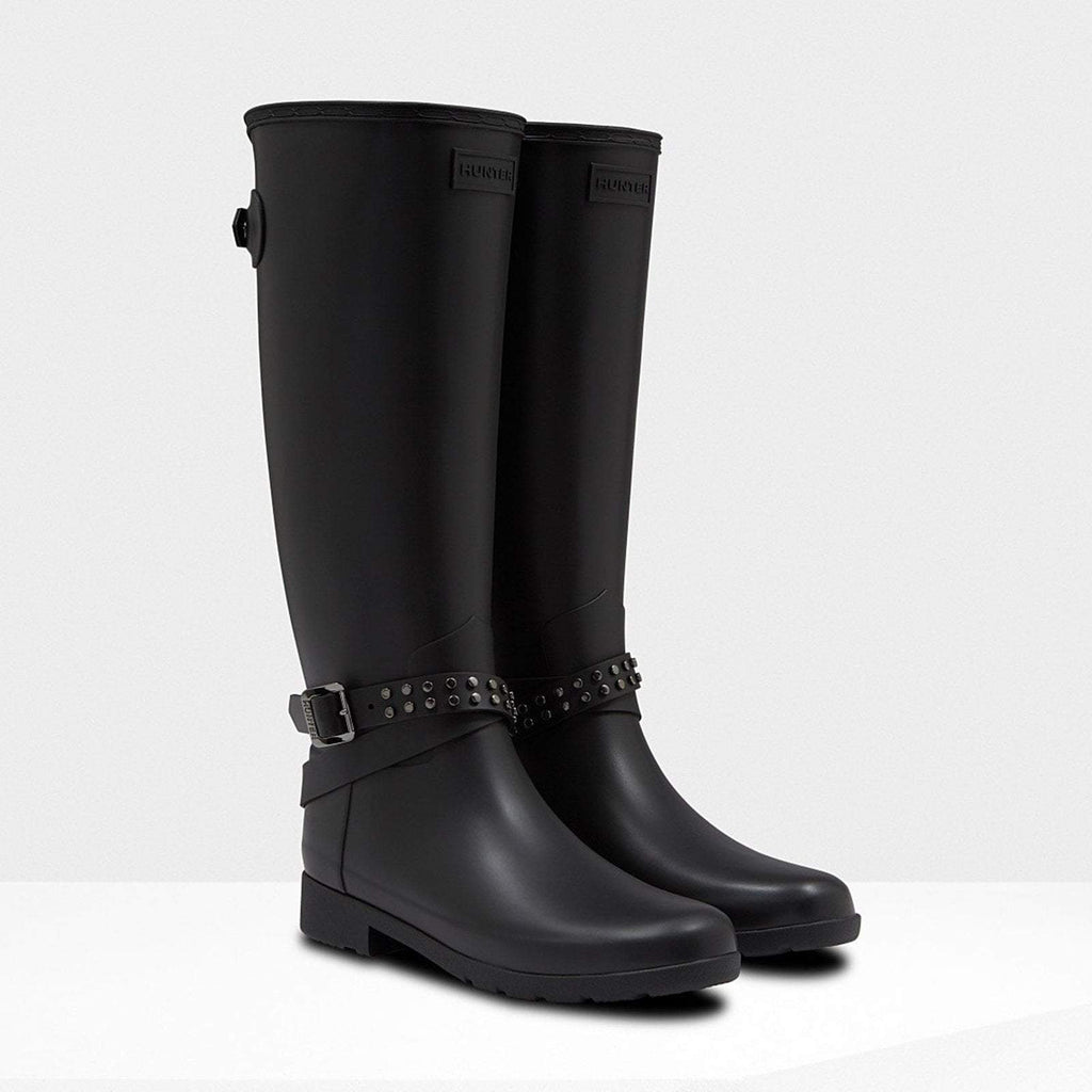 Hunter Footwear UK 4 / EU 37 / US 6 / Black Women's Refined Adjustable Studded Tall Wellington Boots Black