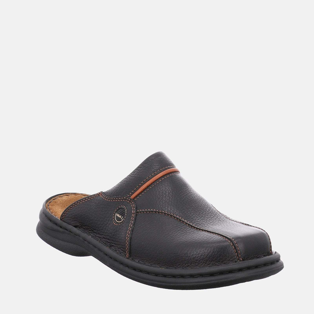 Josef Seibel Footwear UK 6 / EU 39 / US 7 / Brown Josef Seibel Klaus Schwarz/Cognac - Brown/Black Leather Tan Men's Clog Stlye Slip-On  Mule