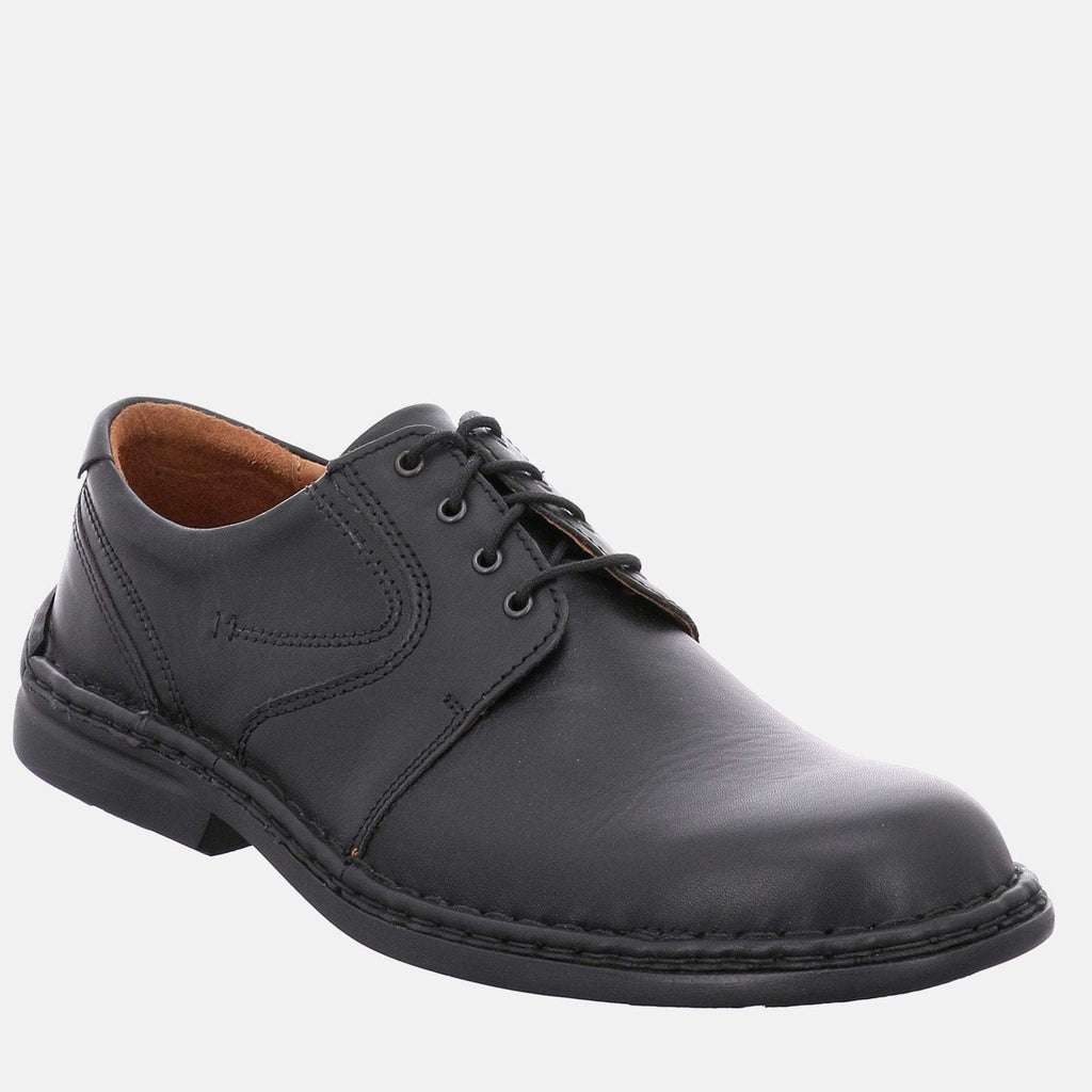 Josef Seibel Footwear UK 6 / EU 39 / US 7 / Black Josef Seibel Walt Schwarz - Black Leather Lace-Up Derby Shoes