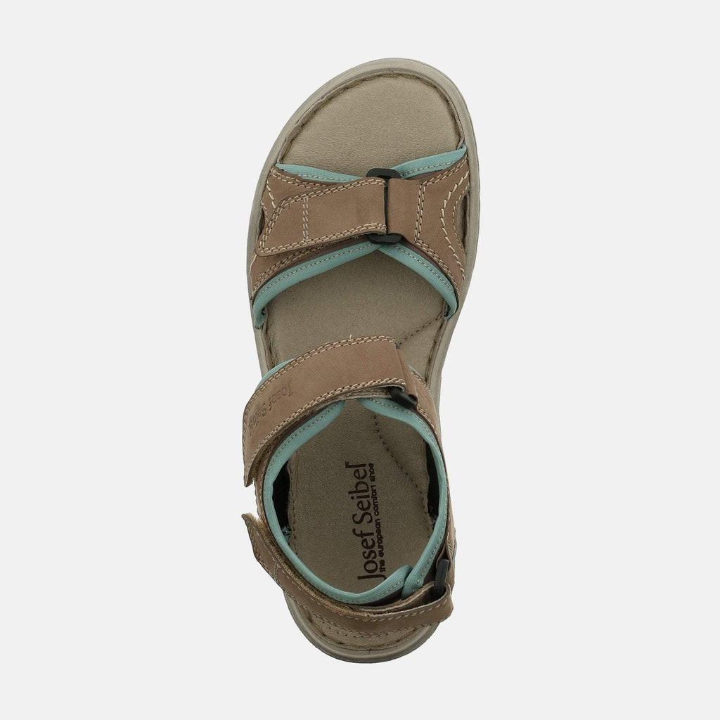 Josef Seibel Footwear UK 3 / EU 36 / US 5 / Brown Lucia 15 Taupe - Josef Seibel  Brown Leather Velcro Walking Ladies Sandal