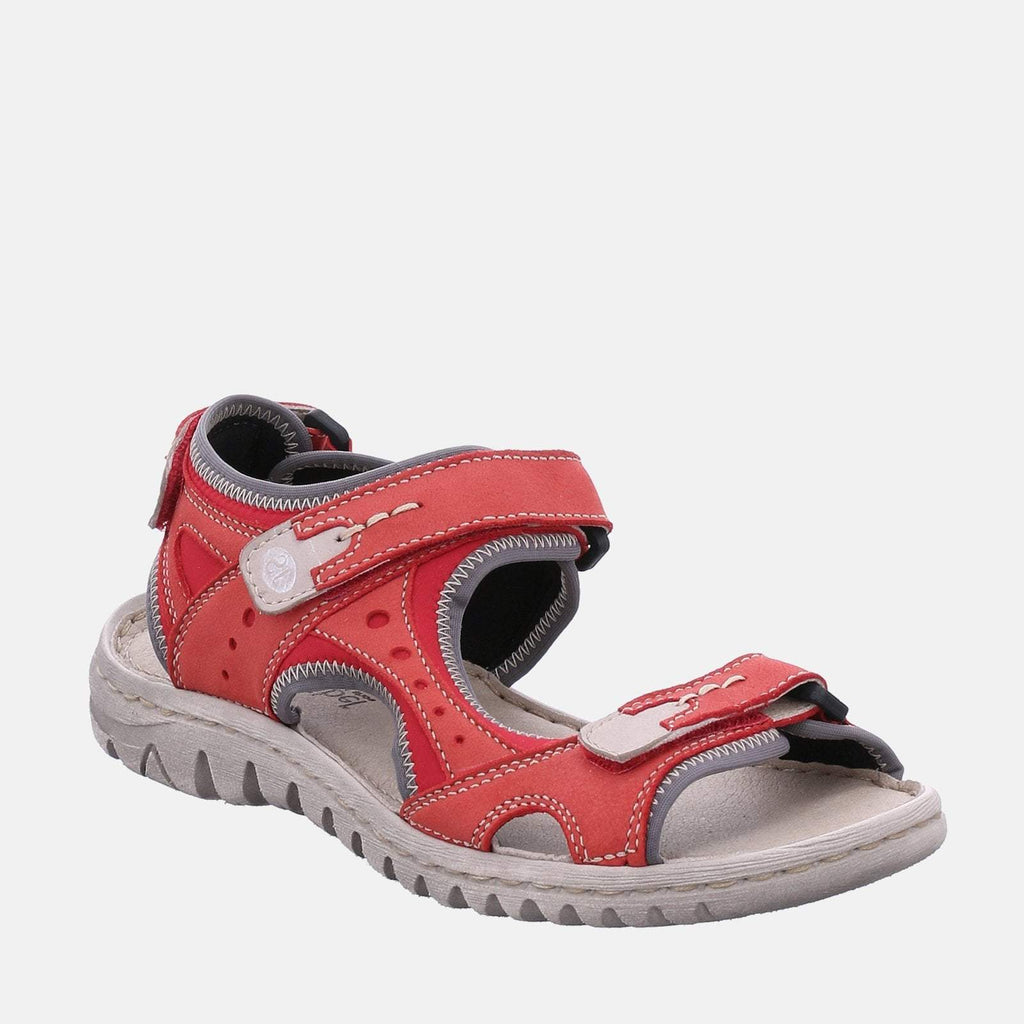 Josef Seibel Footwear UK 3 / EU 36 / US 5 / Red Lucia 17 Rubin kombi- Josef Seibel  Red Leather Velcro Walking Ladies Sandal