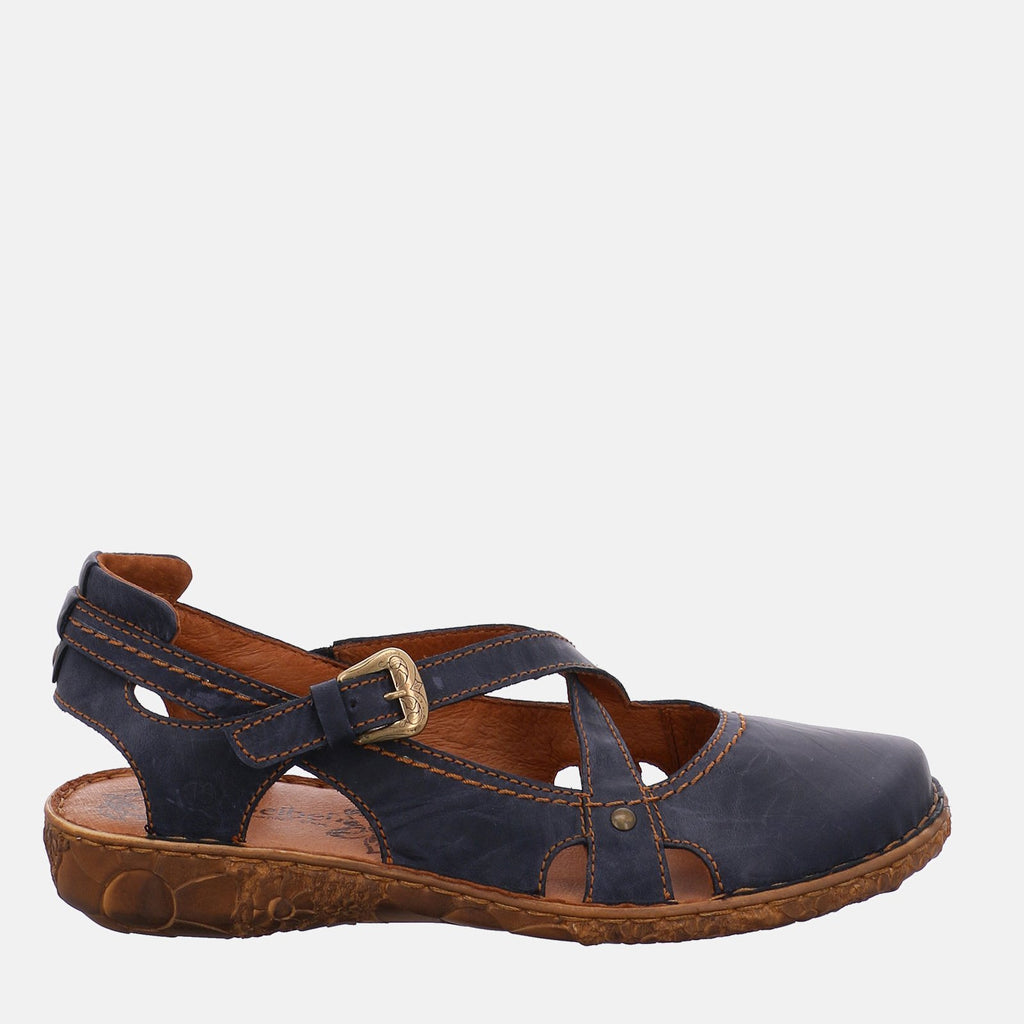 Josef Seibel Footwear UK 3 / EU 36 / US 5 / Navy Blue Rosalie 13 Ocean- Josef Seibel  Navy Blue Leather Crossover Strap Ladies Sandal