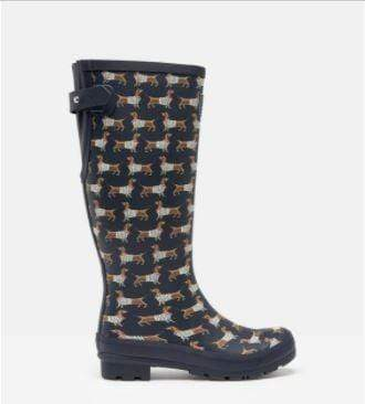 Joules Footwear 209674 Welly Print Navy Sausage Dog