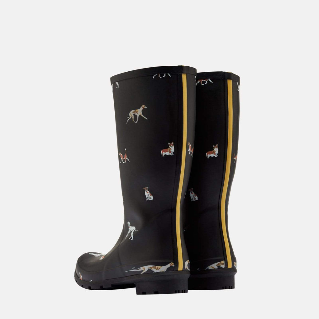 Joules Footwear Roll Up Welly Black Dog