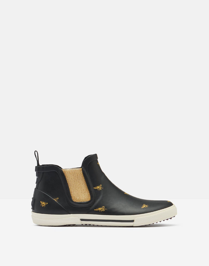 Joules Footwear Short Height Slip On Welly Black Gold Bee 208685