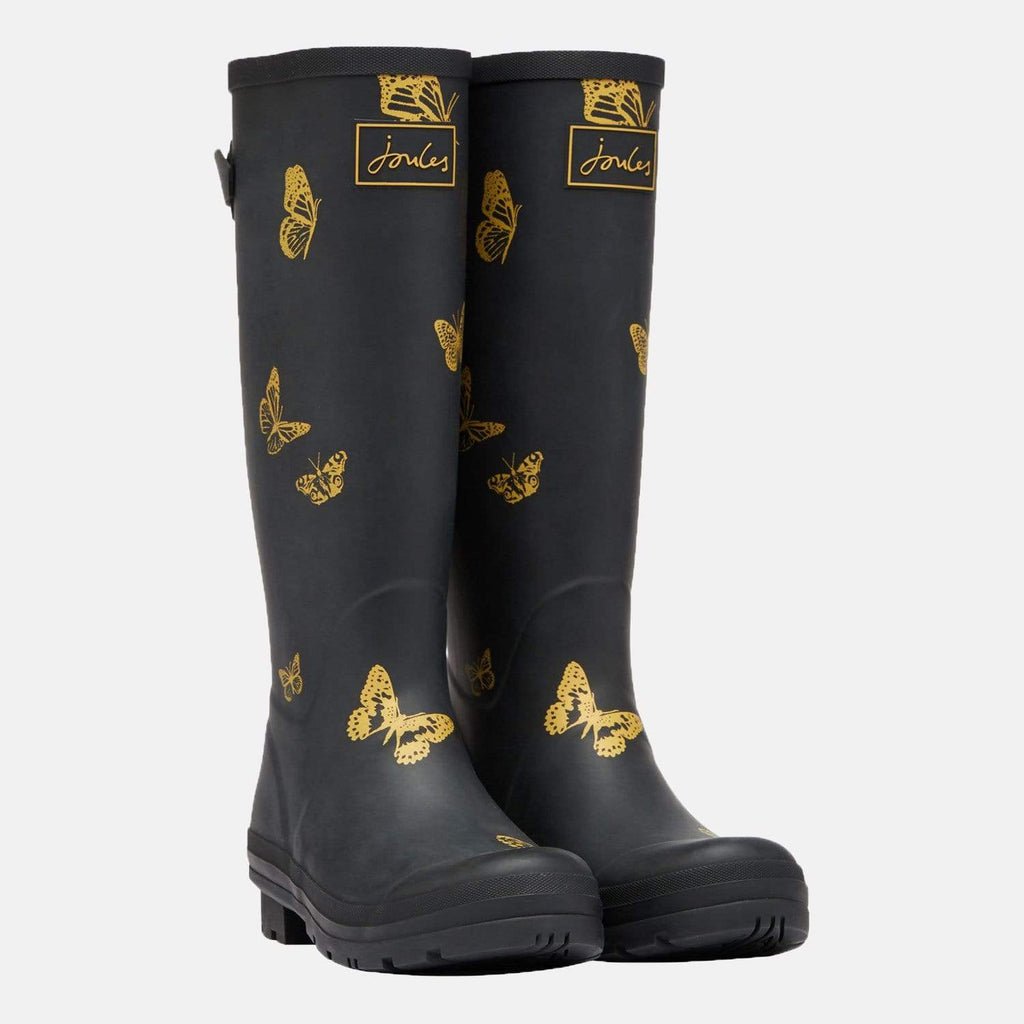 Joules Footwear Welly Print Black Butterfly