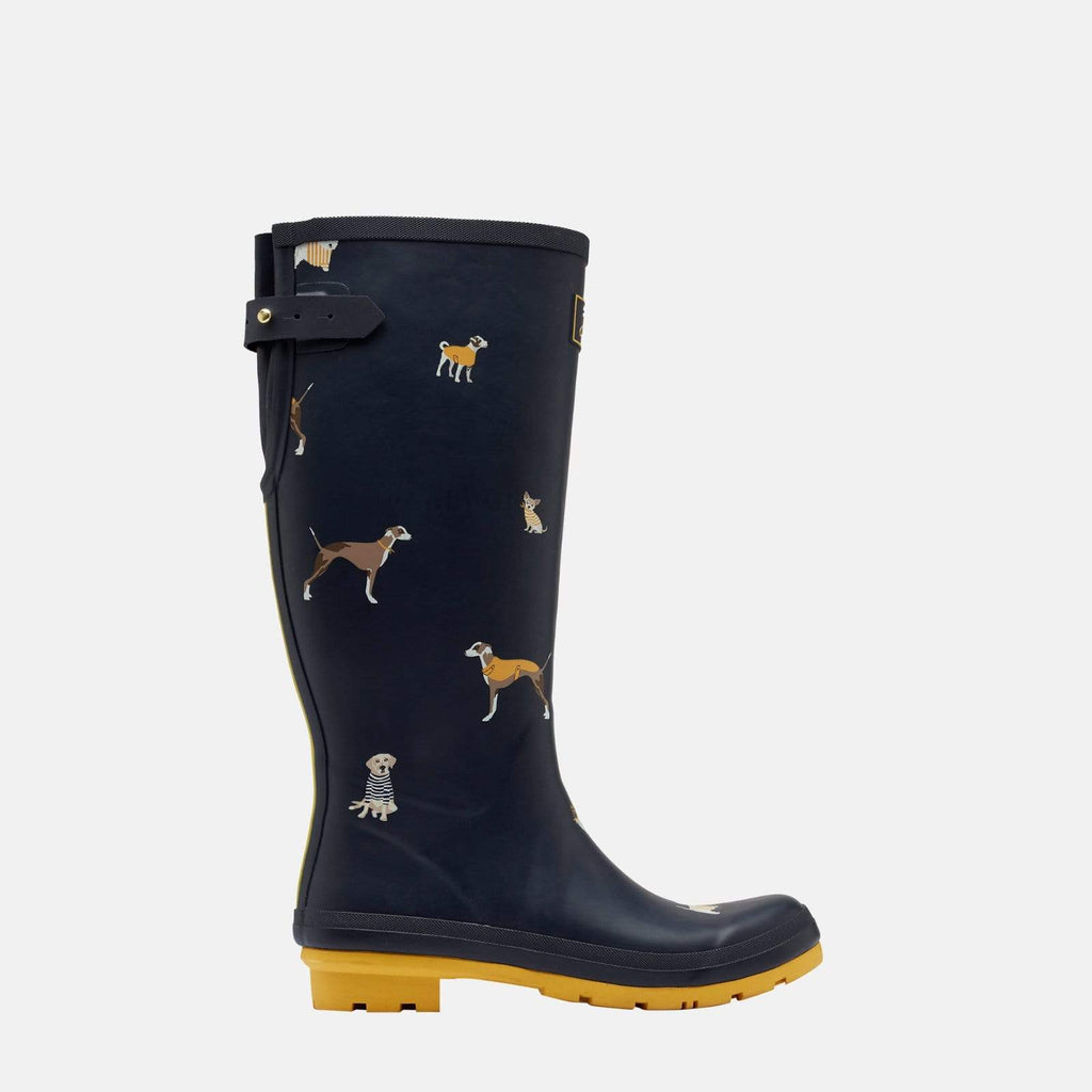 Joules Footwear Welly Print Navy Harbour Dogs