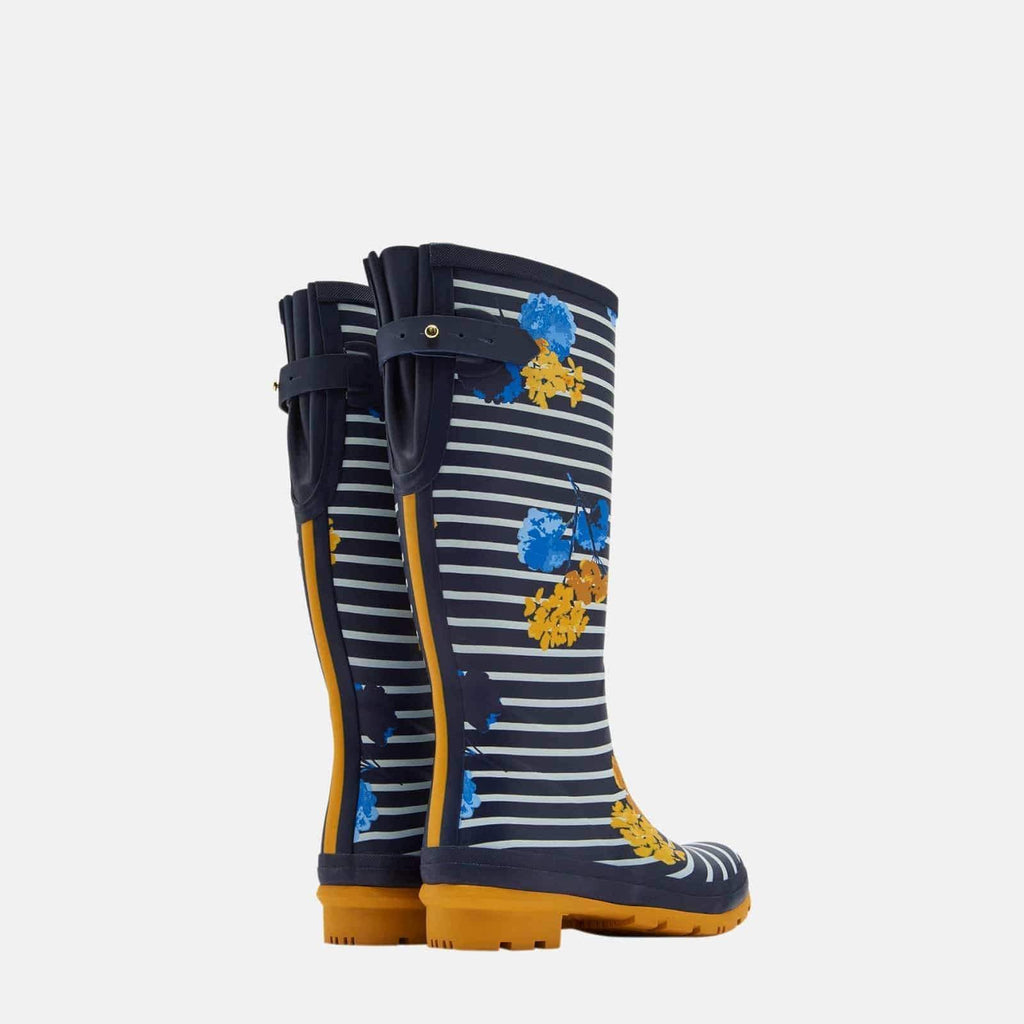 Joules Footwear Welly Print Navy Lily Stripe