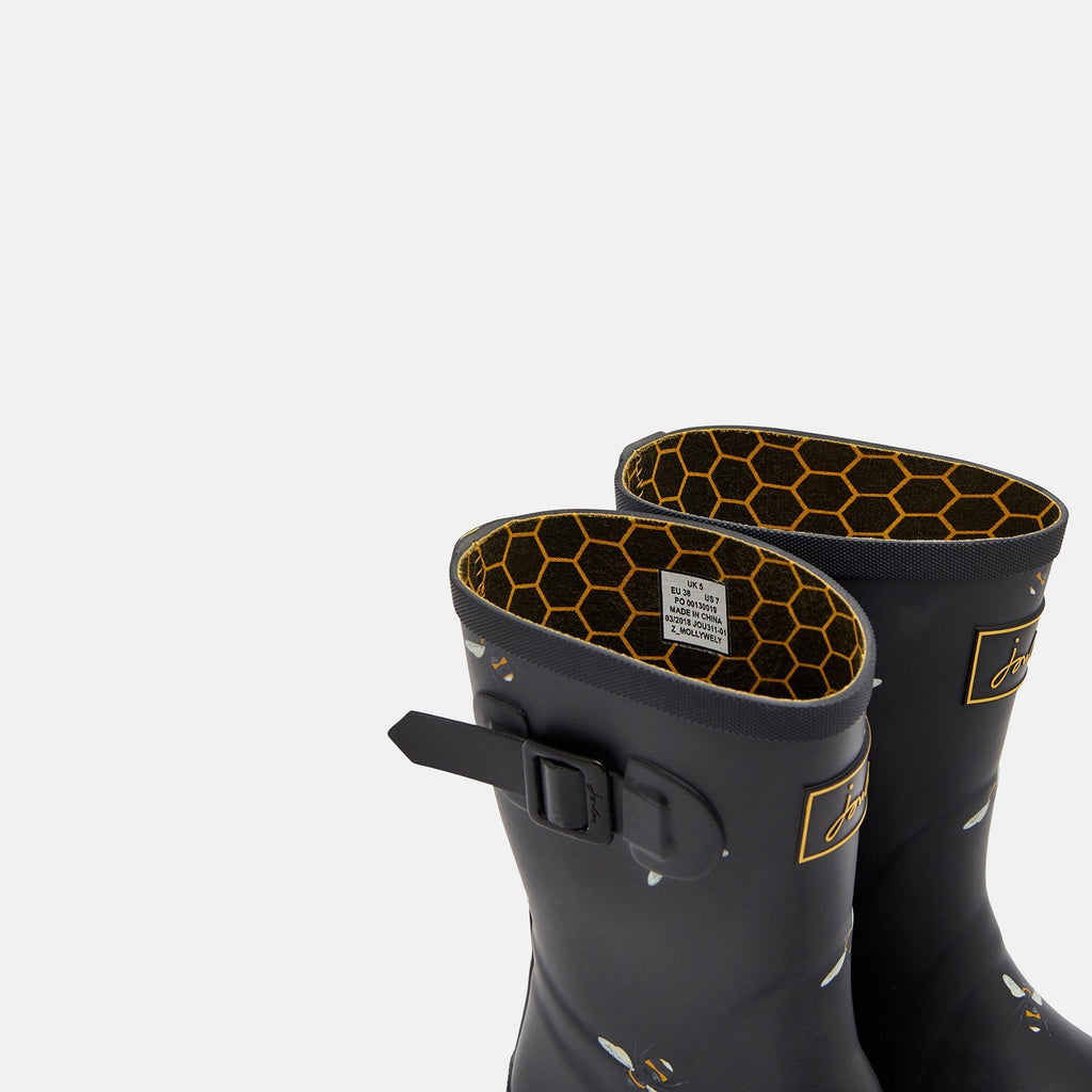 Joules Welly UK 3 / EU 36 / US 5 / Black Botantical Bees Molly Welly Black Botantical Bees