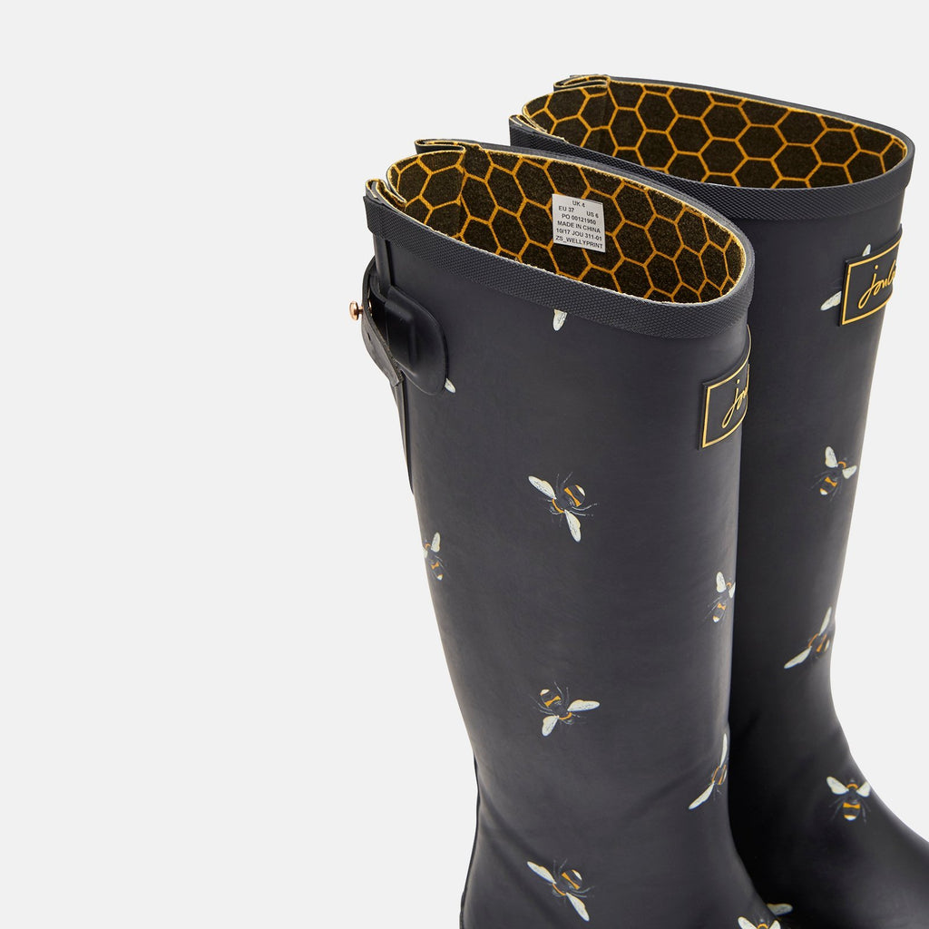 Joules Welly UK 3 / EU 36 / US 5 / Black Botantical Bees Welly Print Black Botantical Bees