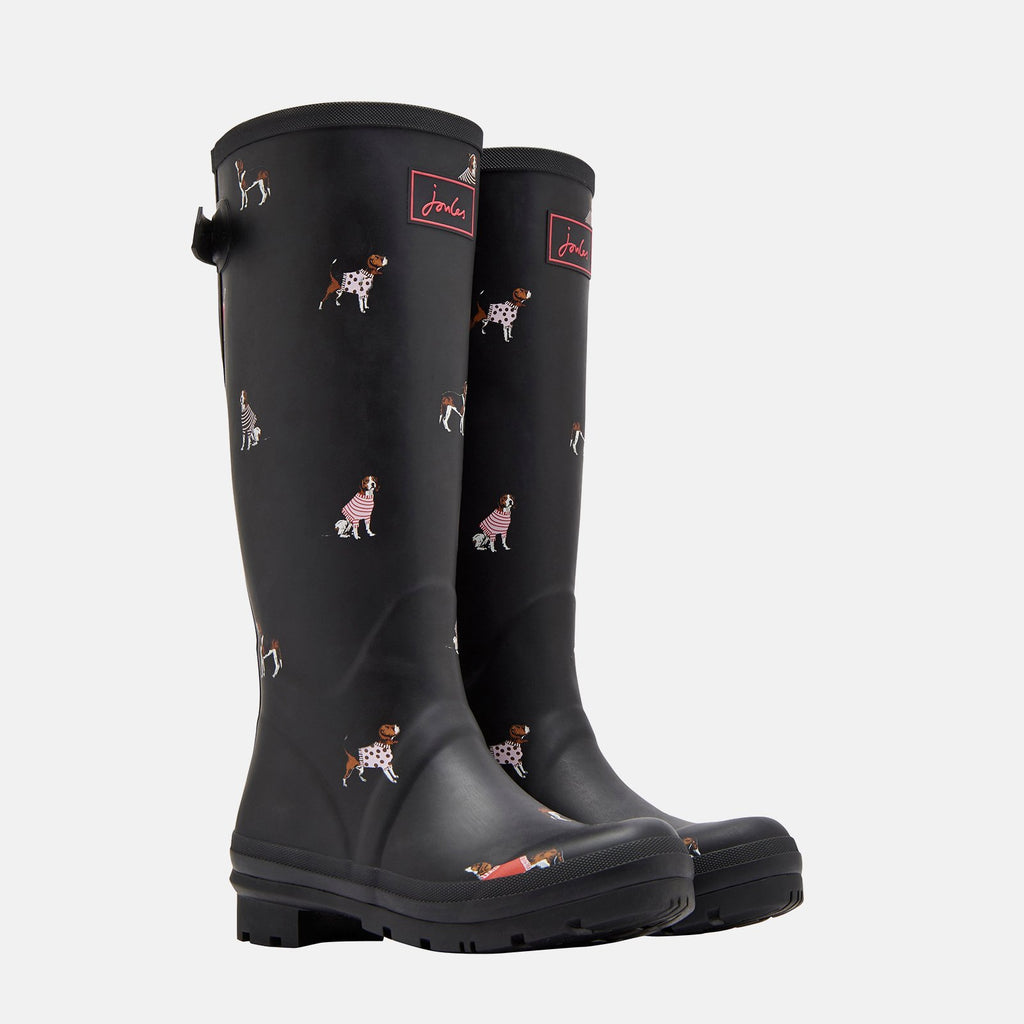 Joules Welly UK 3 / EU 36 / US 5 / Black Jumper Dogs Welly Print Black Jumper Dogs