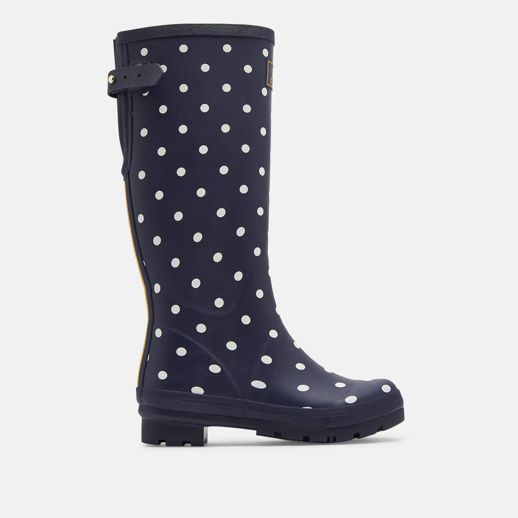 Joules Welly UK 3 / EU 36 / US 5 / Navy Welly Print With Adjustable Back Gusset French Navy Spot